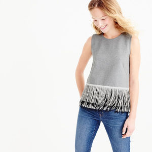 J. Crew Knit Top with Fringe, Gray, Small